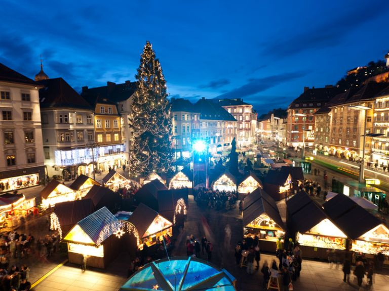 view of one of the christmas markets in austria